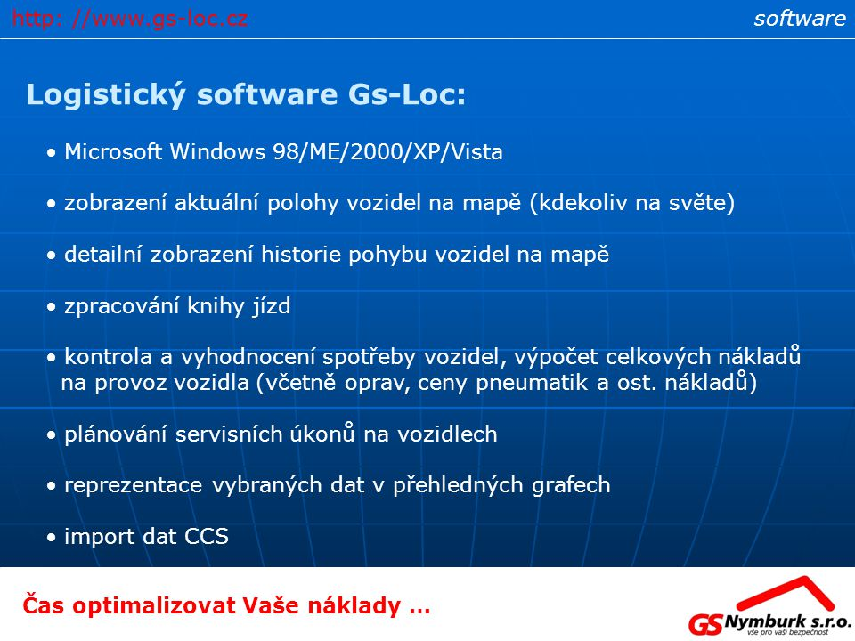 Logistický software Gs-Loc: