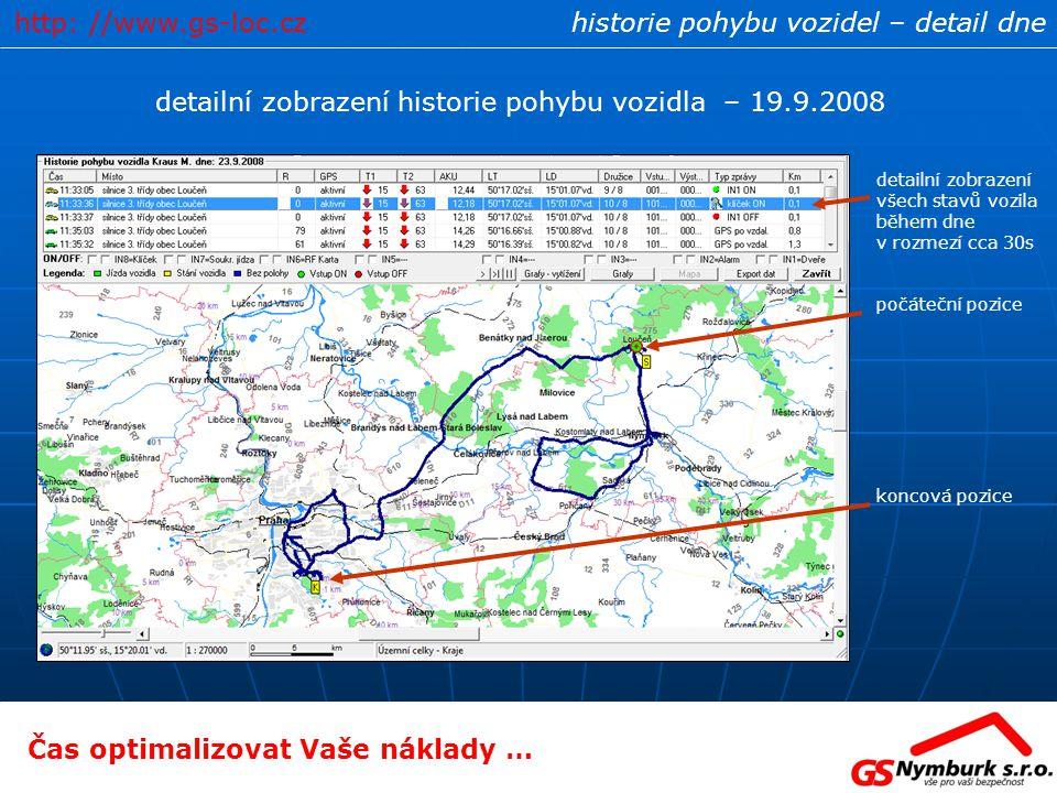 detailní zobrazení historie pohybu vozidla – 19.9.2008