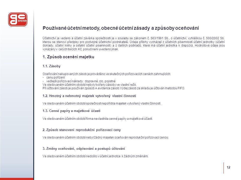Používané účetní metody, obecné účetní zásady a způsoby oceňování