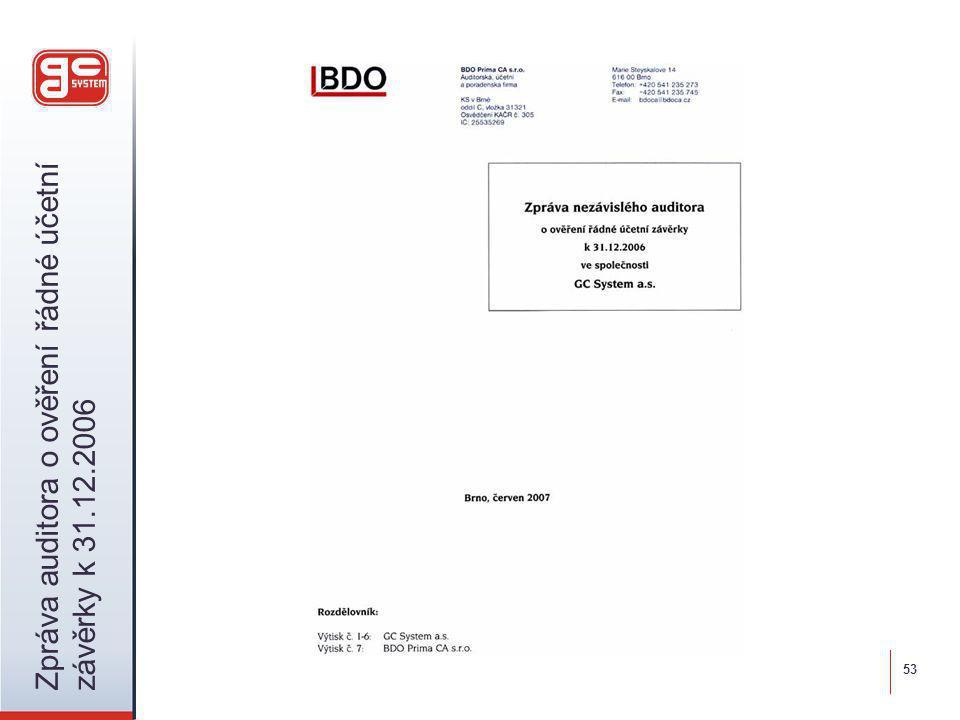 Zpráva auditora o ověření řádné účetní