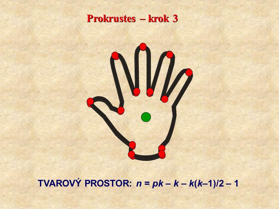 Prokrustes – krok 3 TVAROVÝ PROSTOR: n = pk – k – k(k–1)/2 – 1