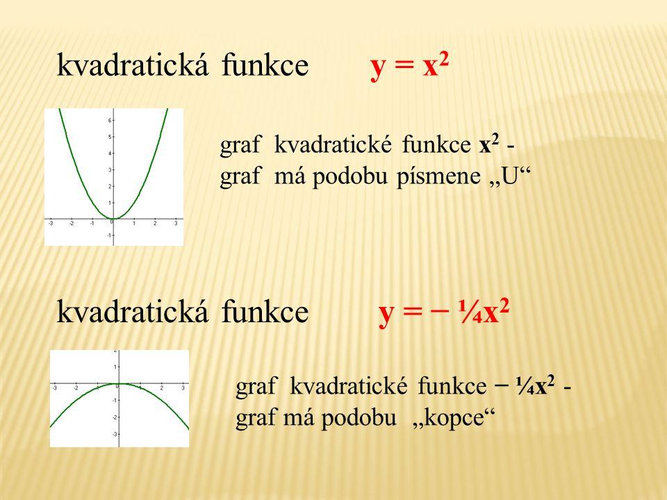 kvadratická funkce y = x2