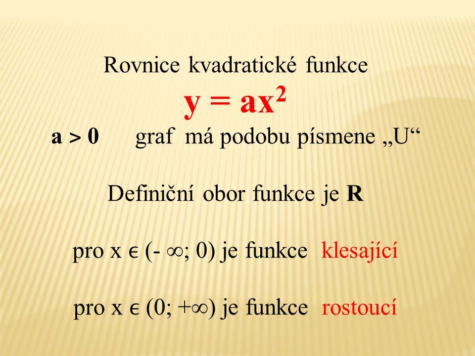 """y = ax2 Rovnice kvadratické funkce a ˃ 0 graf má podobu písmene """"U"""