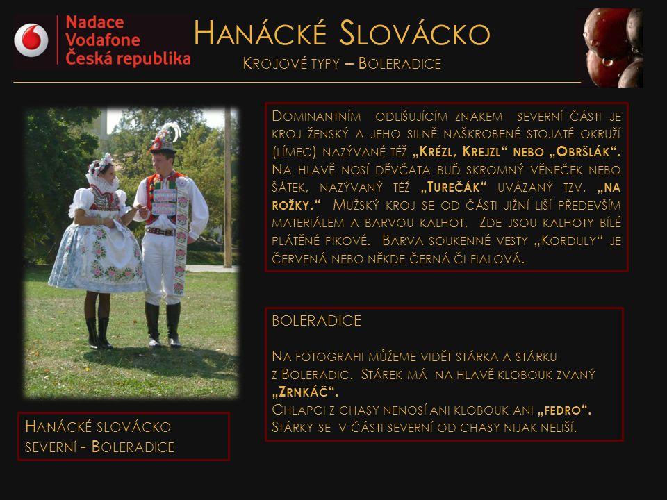 Hanácké Slovácko Krojové typy – Boleradice