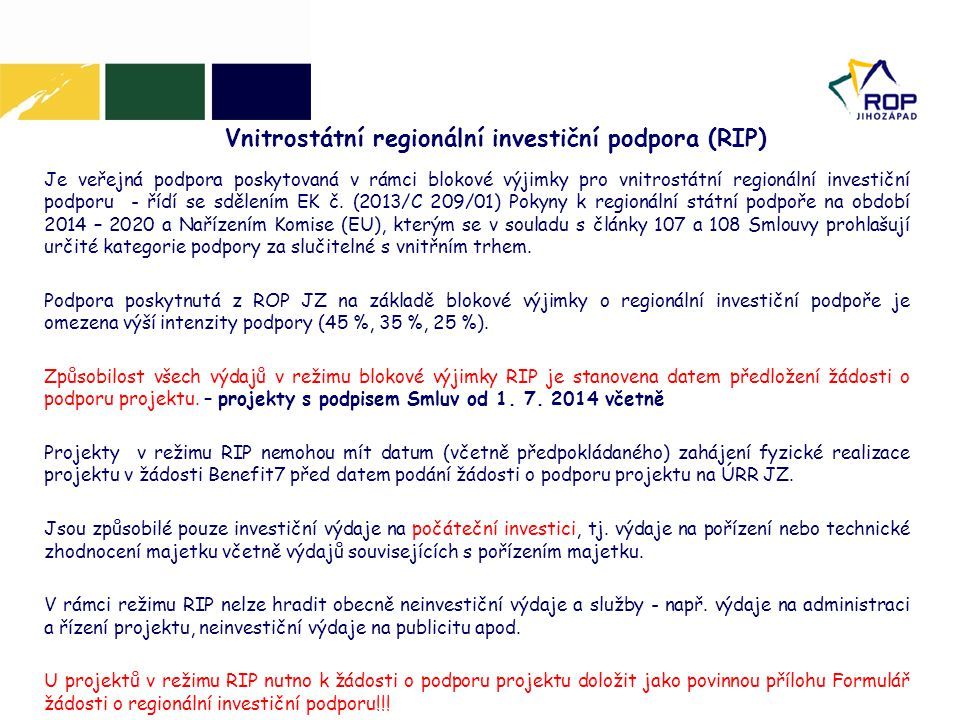 Vnitrostátní regionální investiční podpora (RIP)