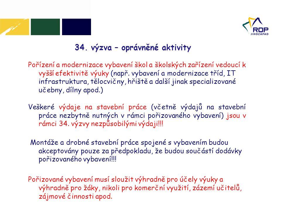 34. výzva – oprávněné aktivity