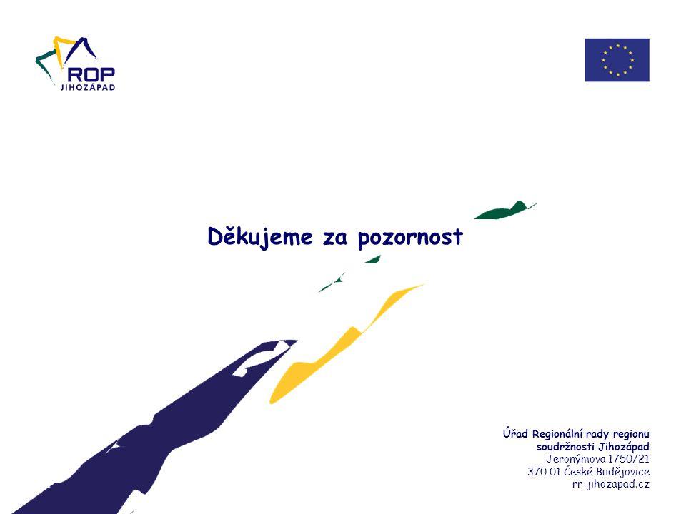 17. 6. 2014 Děkujeme za pozornost. Úřad Regionální rady regionu soudržnosti Jihozápad. Jeronýmova 1750/21.