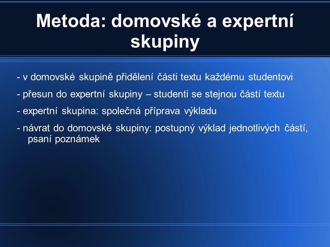 Metoda: domovské a expertní skupiny