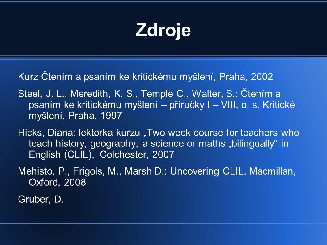 Zdroje Kurz Čtením a psaním ke kritickému myšlení, Praha, 2002