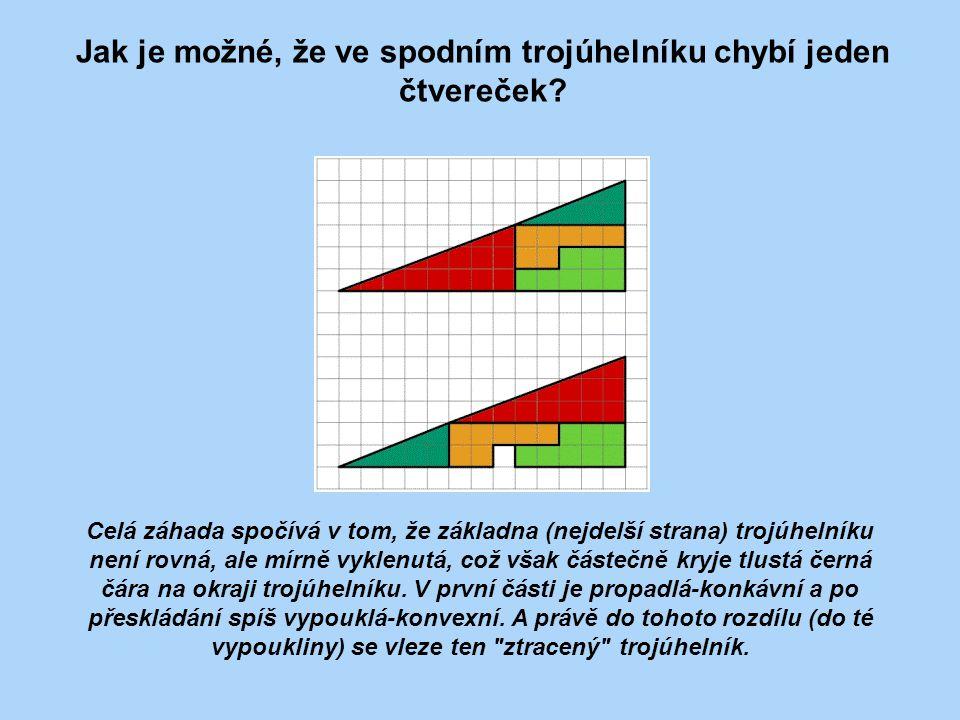 Jak je možné, že ve spodním trojúhelníku chybí jeden čtvereček