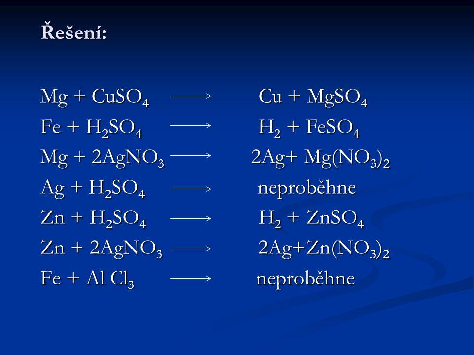 Řešení: Mg + CuSO4 Cu + MgSO4. Fe + H2SO4 H2 + FeSO4.