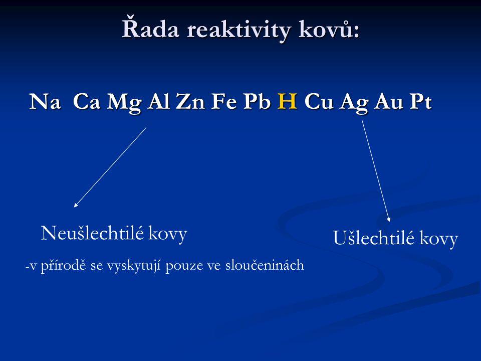 Řada reaktivity kovů: Na Ca Mg Al Zn Fe Pb H Cu Ag Au Pt