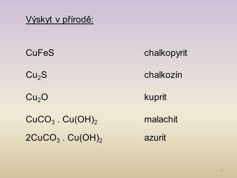 Výskyt v přírodě: CuFeS chalkopyrit. Cu2S chalkozín. Cu2O kuprit. CuCO3 . Cu(OH)2 malachit.