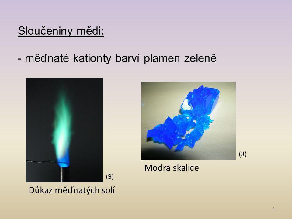 - měďnaté kationty barví plamen zeleně