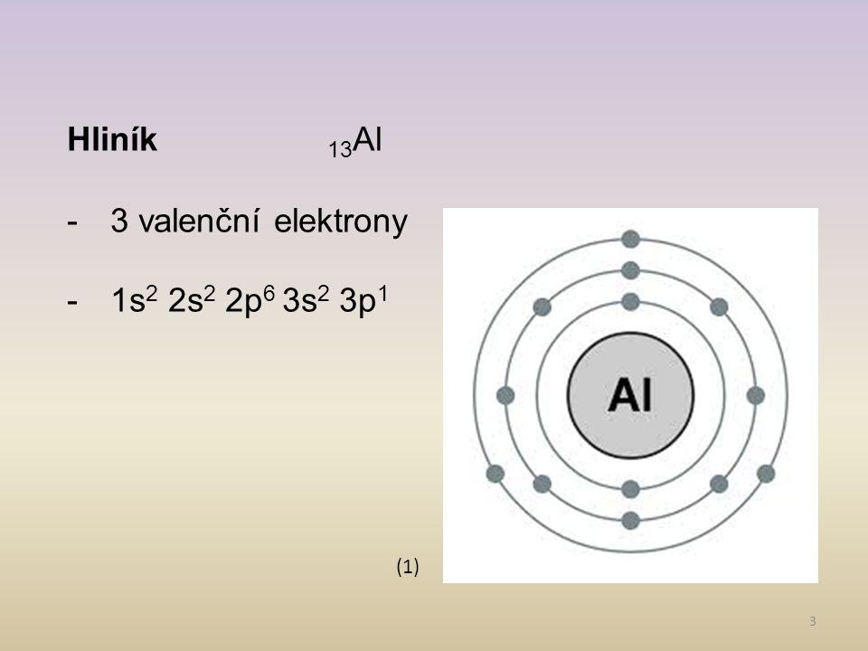 Hliník 13Al 3 valenční elektrony 1s2 2s2 2p6 3s2 3p1 (1)