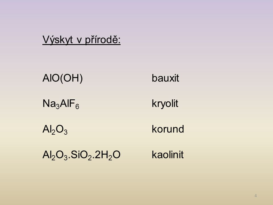 Výskyt v přírodě: AlO(OH) bauxit Na3AlF6 kryolit Al2O3 korund Al2O3.SiO2.2H2O kaolinit