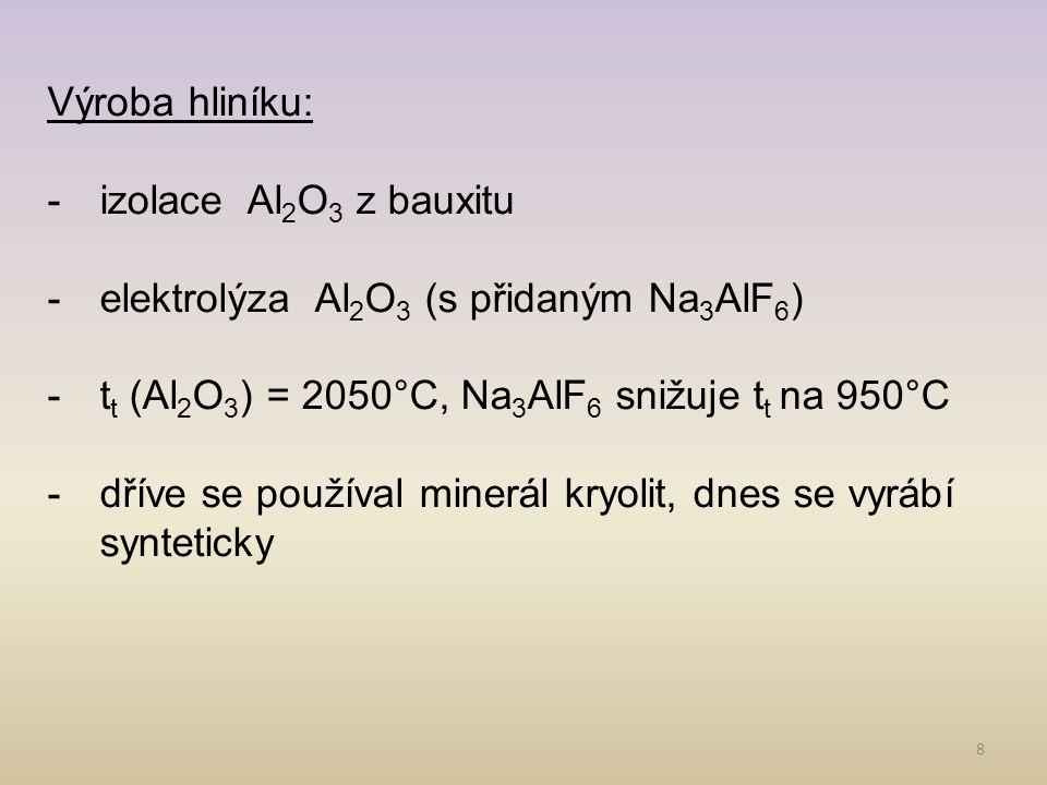 Výroba hliníku: izolace Al2O3 z bauxitu. elektrolýza Al2O3 (s přidaným Na3AlF6) tt (Al2O3) = 2050°C, Na3AlF6 snižuje tt na 950°C.