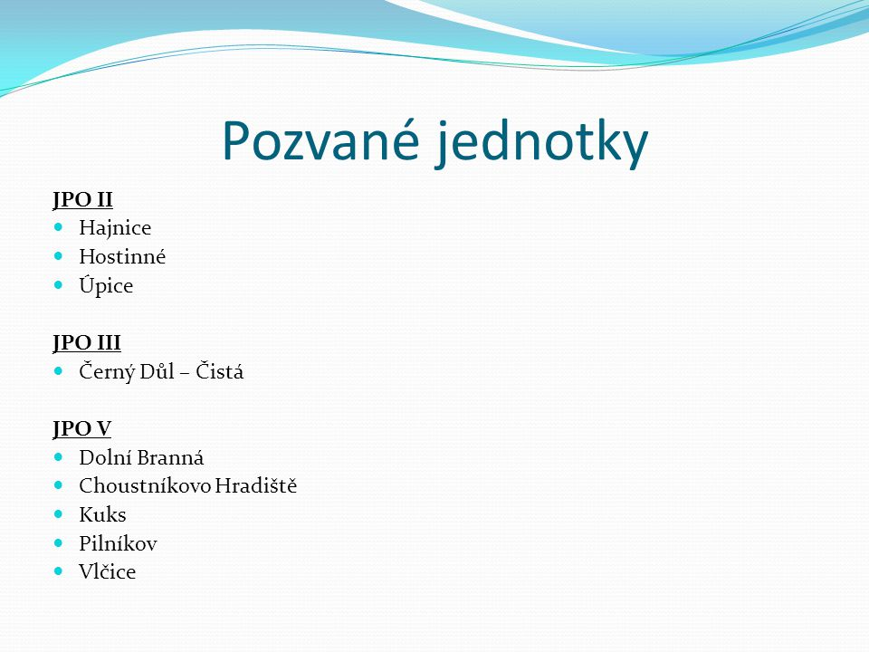 Pozvané jednotky JPO II Hajnice Hostinné Úpice JPO III