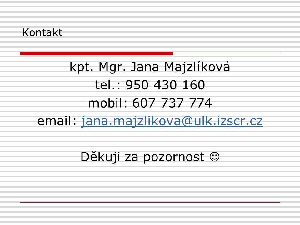 kpt. Mgr. Jana Majzlíková tel.: 950 430 160 mobil: 607 737 774