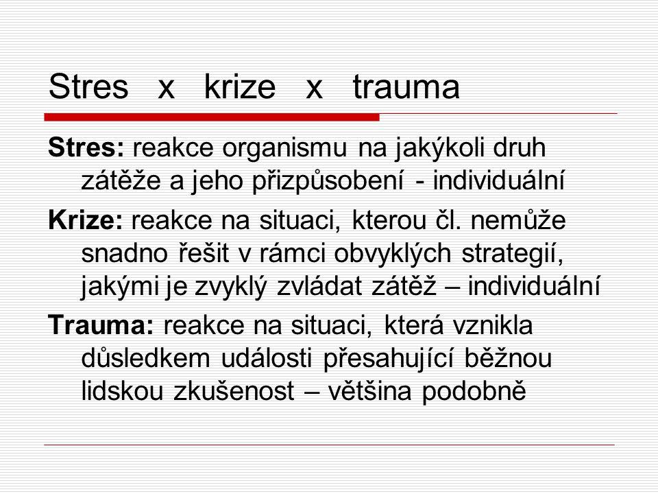 Stres x krize x trauma Stres: reakce organismu na jakýkoli druh zátěže a jeho přizpůsobení - individuální.