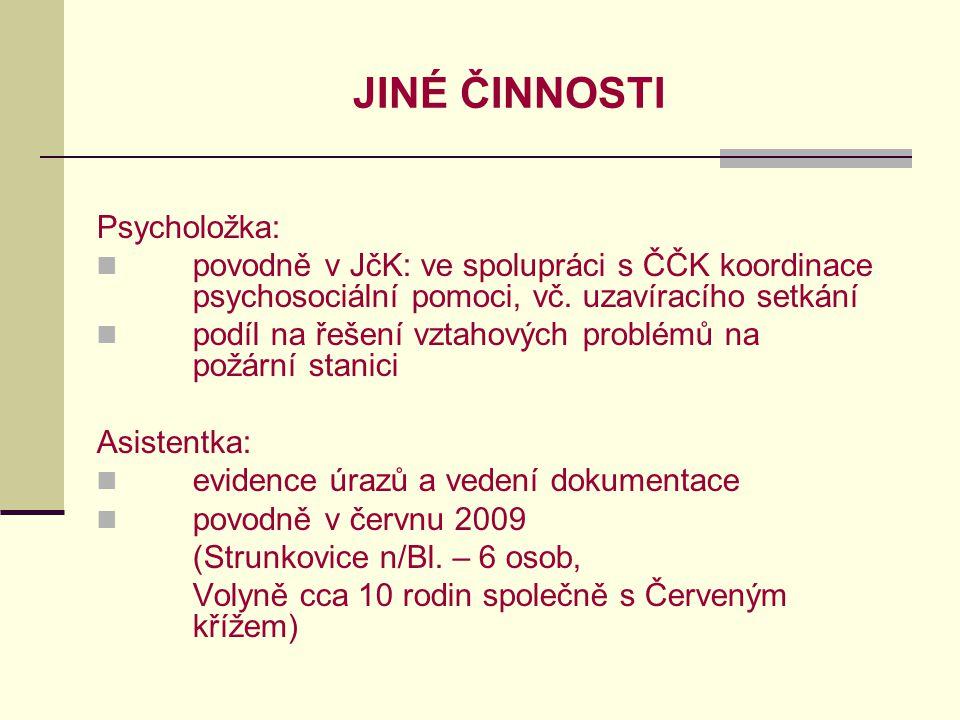 JINÉ ČINNOSTI Psycholožka: