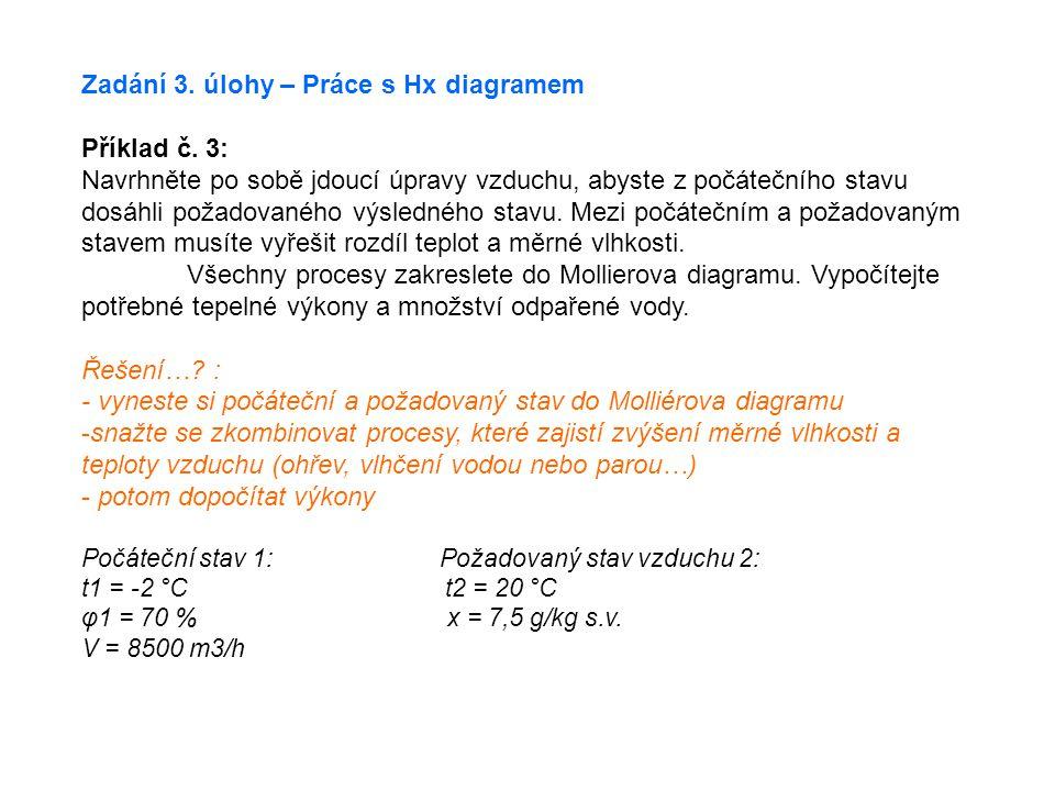Zadání 3. úlohy – Práce s Hx diagramem Příklad č. 3: