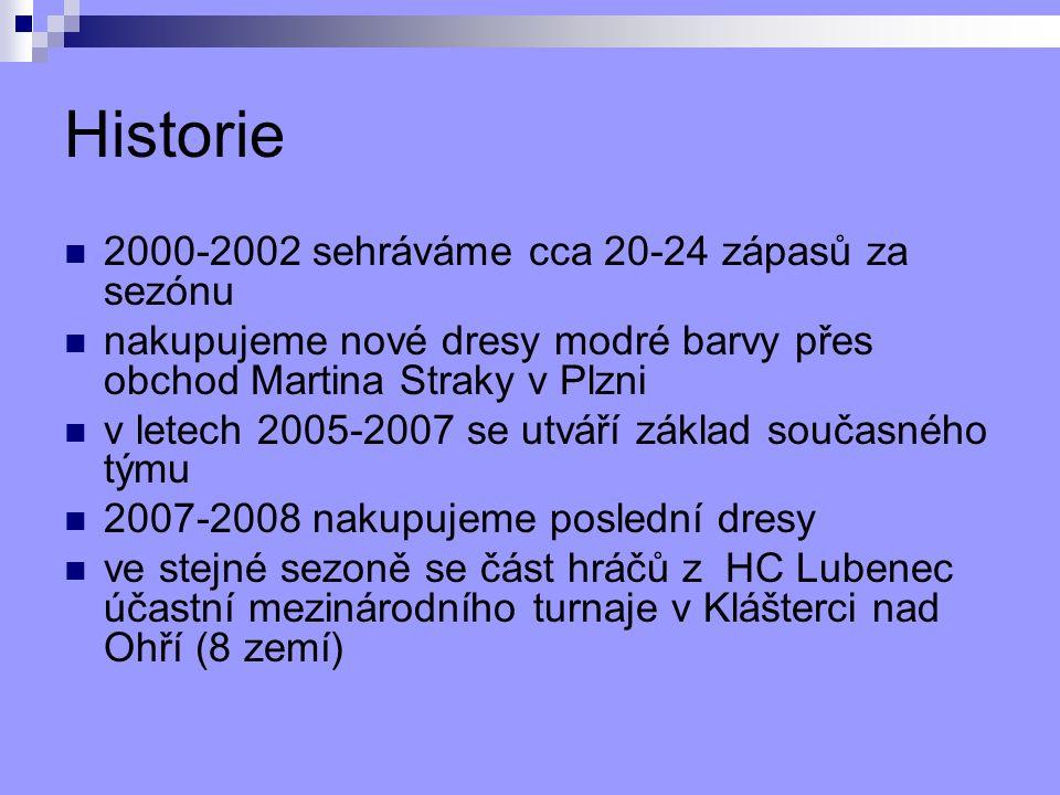 Historie 2000-2002 sehráváme cca 20-24 zápasů za sezónu