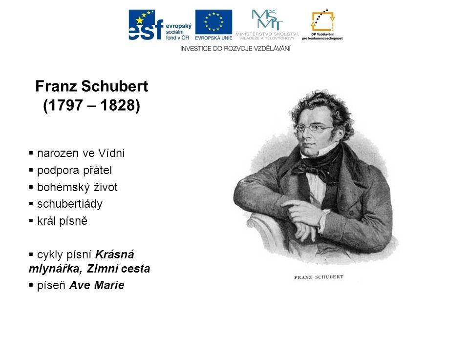 Franz Schubert (1797 – 1828) narozen ve Vídni podpora přátel