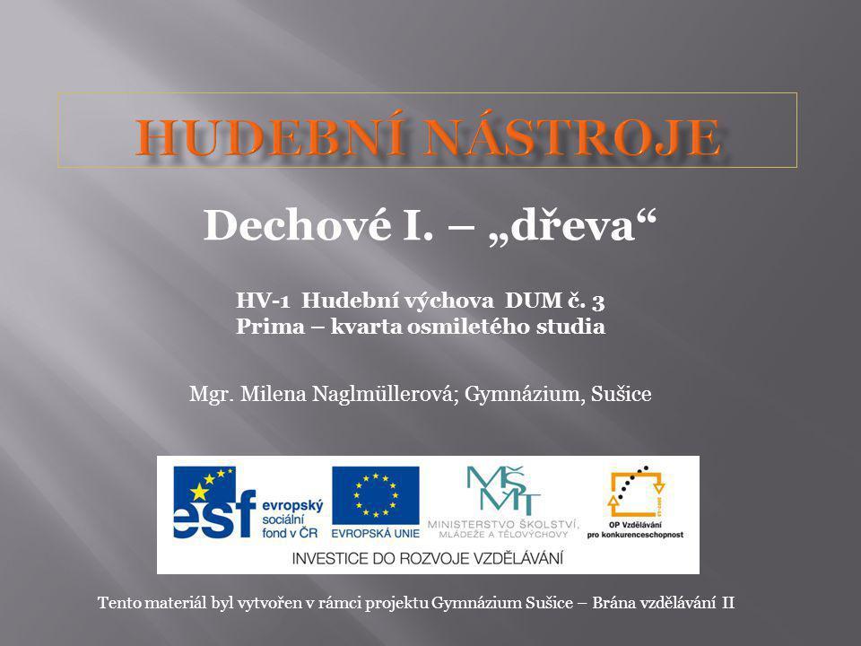 HV-1 Hudební výchova DUM č. 3 Prima – kvarta osmiletého studia