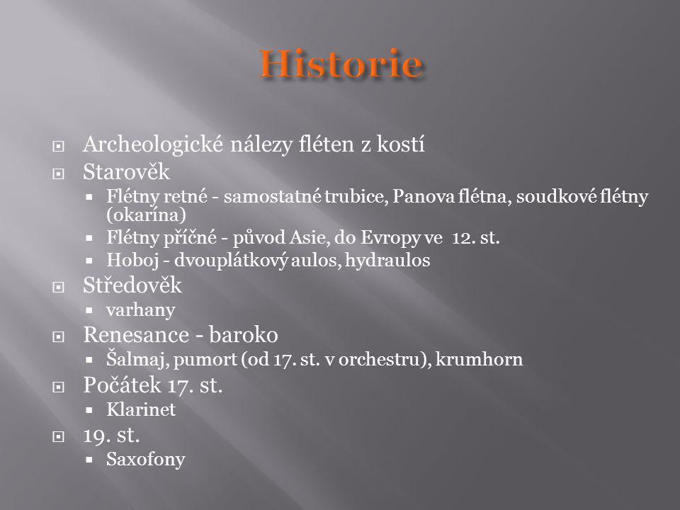 Historie Archeologické nálezy fléten z kostí Starověk Středověk