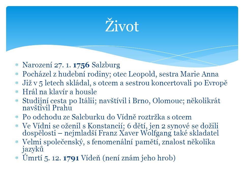 Život Narození 27. 1. 1756 Salzburg
