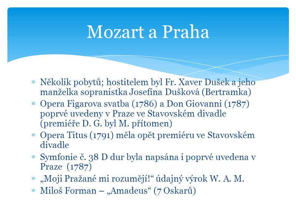 Mozart a Praha Několik pobytů; hostitelem byl Fr. Xaver Dušek a jeho manželka sopranistka Josefína Dušková (Bertramka)