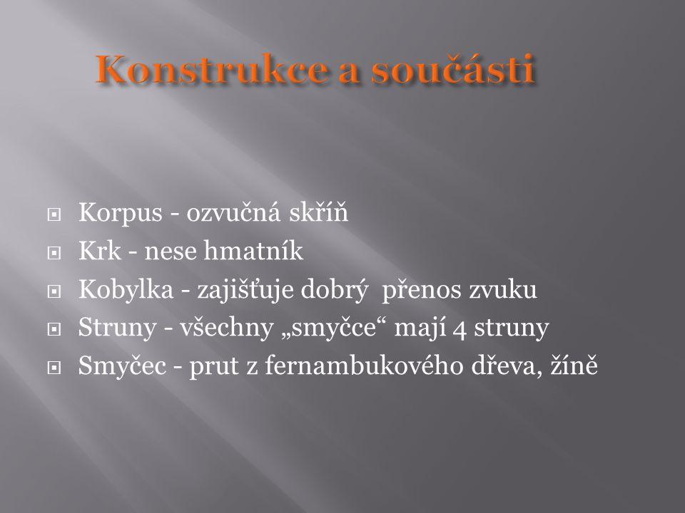 Konstrukce a součásti Korpus - ozvučná skříň Krk - nese hmatník