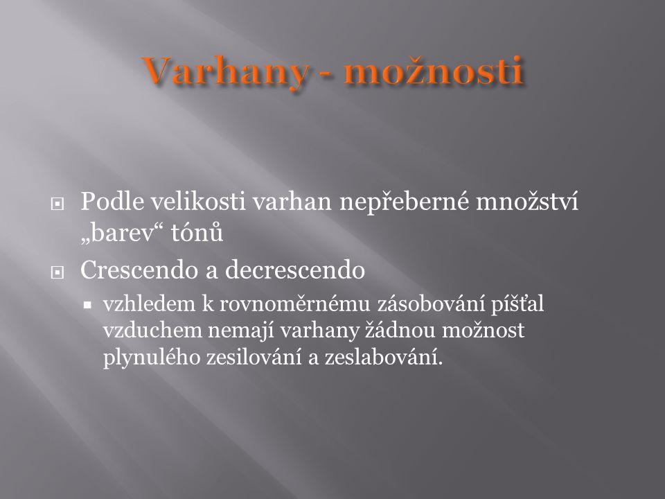 """Varhany - možnosti Podle velikosti varhan nepřeberné množství """"barev tónů. Crescendo a decrescendo."""