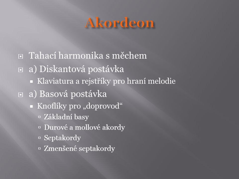 Akordeon Tahací harmonika s měchem a) Diskantová postávka