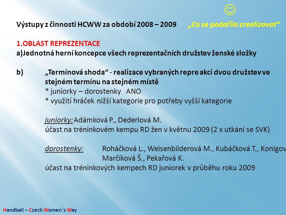 """ Výstupy z činnosti HCWW za období 2008 – 2009 """"Co se podařilo zrealizovat OBLAST REPREZENTACE."""
