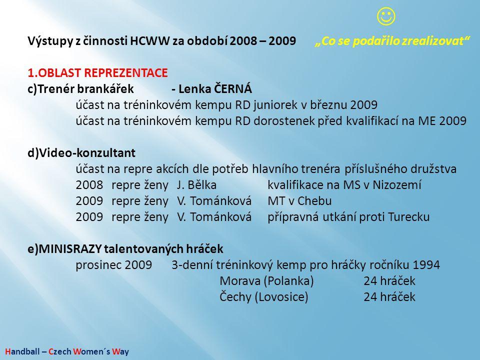 """ Výstupy z činnosti HCWW za období 2008 – 2009 """"Co se podařilo zrealizovat OBLAST REPREZENTACE. Trenér brankářek - Lenka ČERNÁ."""