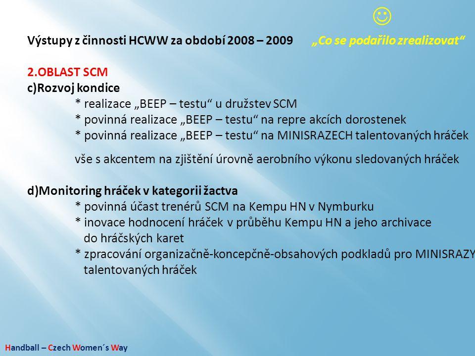 """ Výstupy z činnosti HCWW za období 2008 – 2009 """"Co se podařilo zrealizovat OBLAST SCM. Rozvoj kondice."""