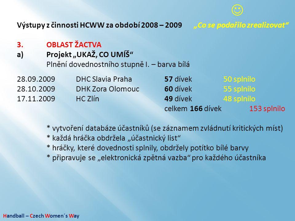 """ Výstupy z činnosti HCWW za období 2008 – 2009 """"Co se podařilo zrealizovat 3. OBLAST ŽACTVA. a) Projekt """"UKAŽ, CO UMÍŠ"""