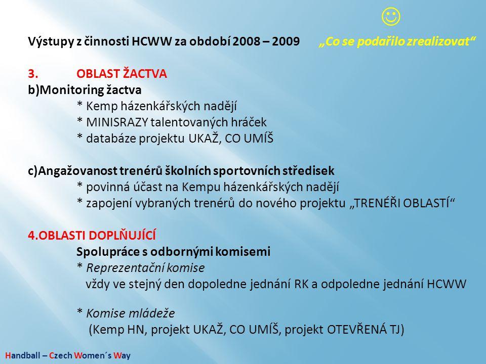 """ Výstupy z činnosti HCWW za období 2008 – 2009 """"Co se podařilo zrealizovat 3. OBLAST ŽACTVA. Monitoring žactva."""