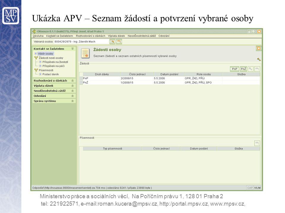 Ukázka APV – Seznam žádostí a potvrzení vybrané osoby