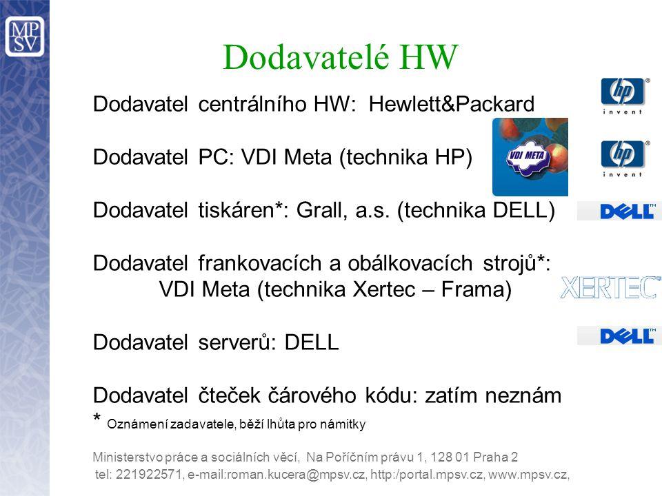 Dodavatelé HW Dodavatel centrálního HW: Hewlett&Packard