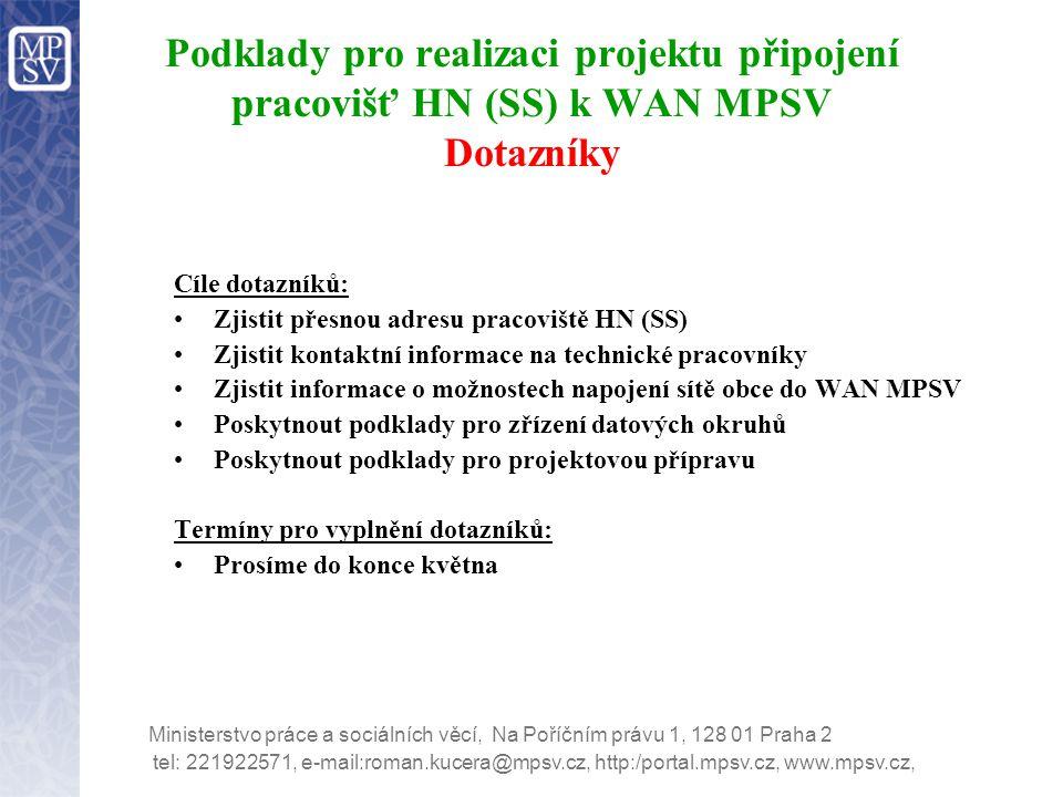 Podklady pro realizaci projektu připojení pracovišť HN (SS) k WAN MPSV Dotazníky