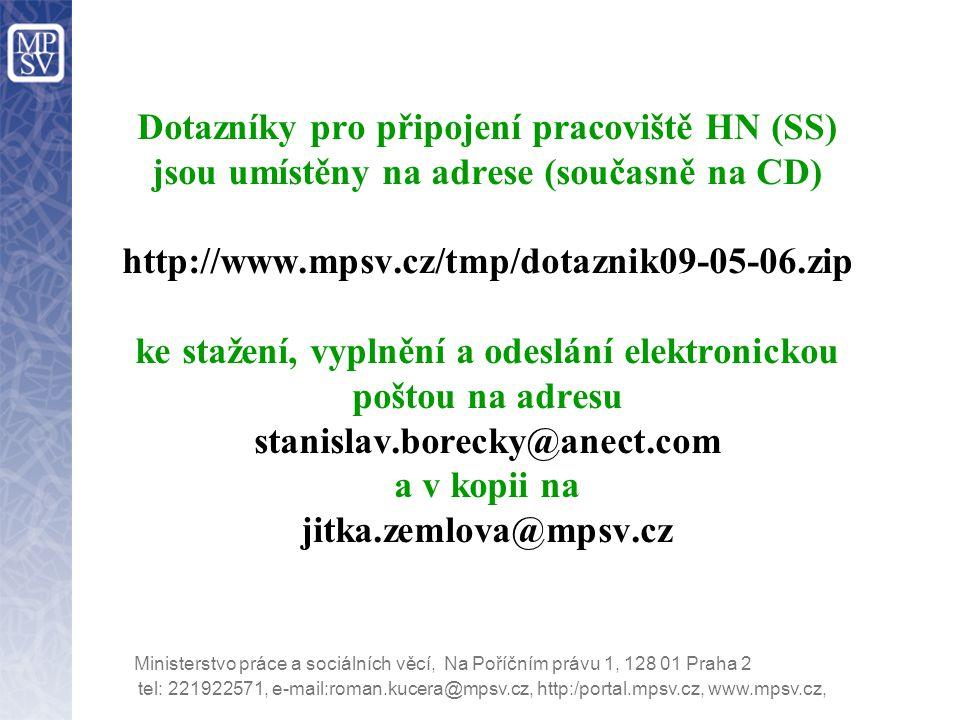 Dotazníky pro připojení pracoviště HN (SS) jsou umístěny na adrese (současně na CD) http://www.mpsv.cz/tmp/dotaznik09-05-06.zip ke stažení, vyplnění a odeslání elektronickou poštou na adresu stanislav.borecky@anect.com a v kopii na jitka.zemlova@mpsv.cz