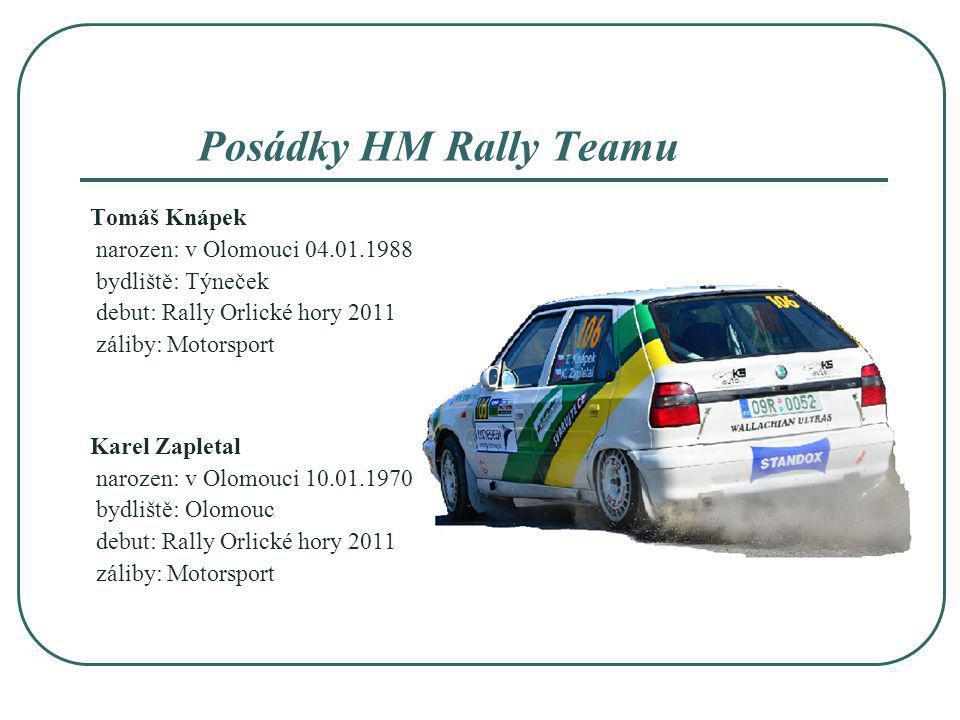 Posádky HM Rally Teamu Tomáš Knápek narozen: v Olomouci 04.01.1988
