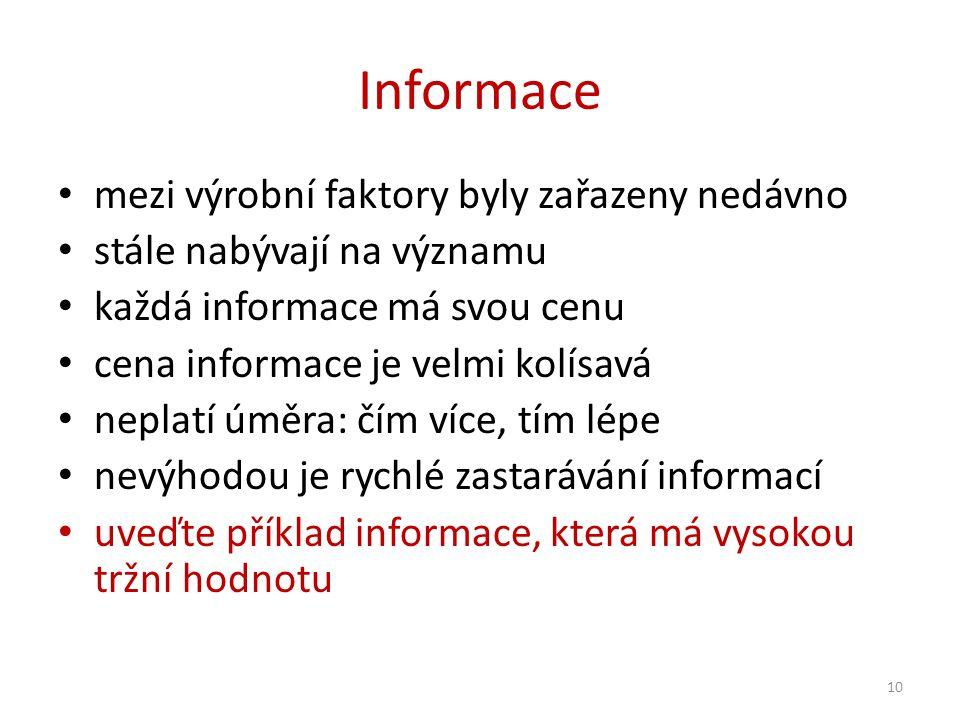 Informace mezi výrobní faktory byly zařazeny nedávno