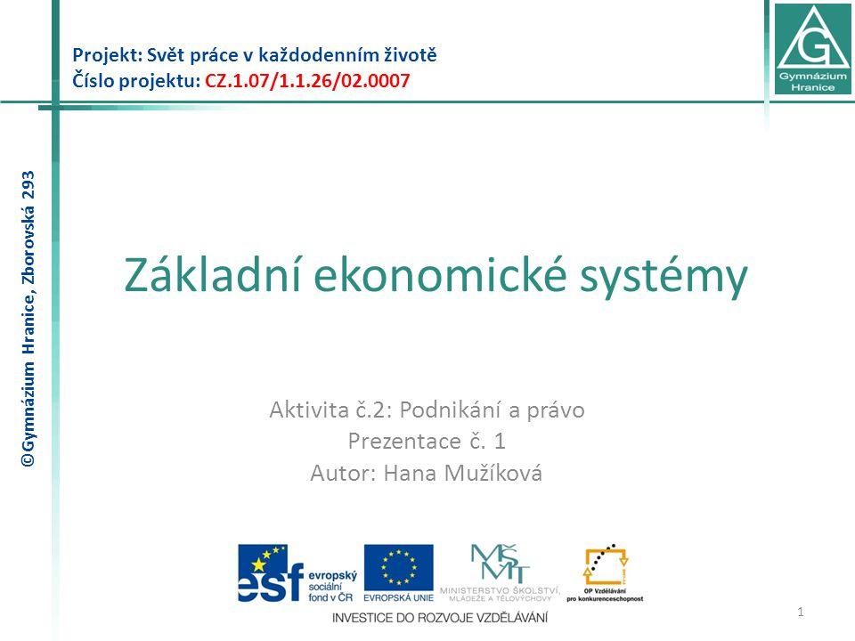 Základní ekonomické systémy