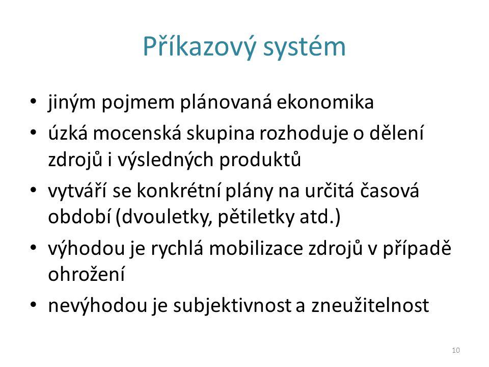 Příkazový systém jiným pojmem plánovaná ekonomika