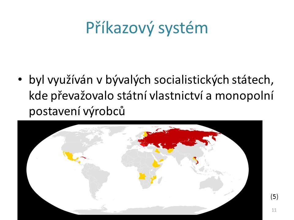 Příkazový systém byl využíván v bývalých socialistických státech, kde převažovalo státní vlastnictví a monopolní postavení výrobců.