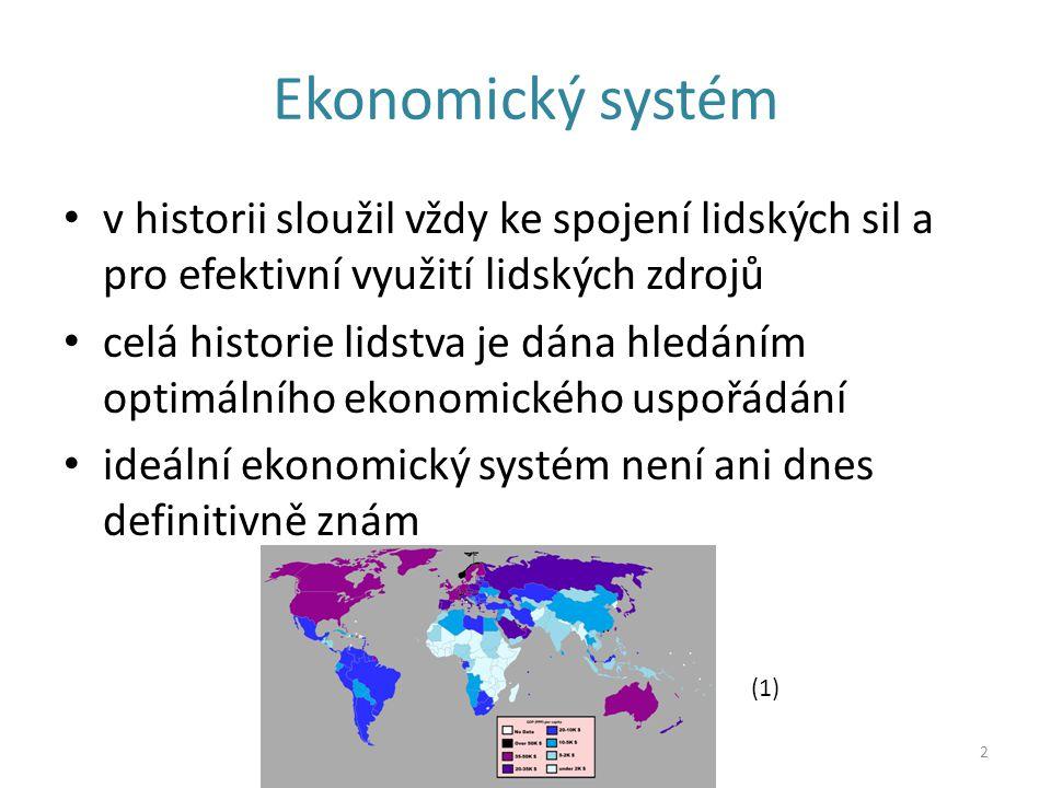 Ekonomický systém v historii sloužil vždy ke spojení lidských sil a pro efektivní využití lidských zdrojů.